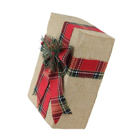 Northlight Holiday Moments Decorative Burlap and Plaid Christmas Gift Box Decoration