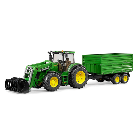 Bruder Toys John Deere 7930 With Frontloader And Trailer Toy Tractor Play Set ()