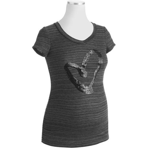 Planet Motherhood Maternity Top with Sequin Heart Embellishment