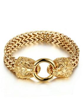 LuckyFine Stainless Steel Lion Heads Franco Cuban Chain Gold Men Biker Bracelet