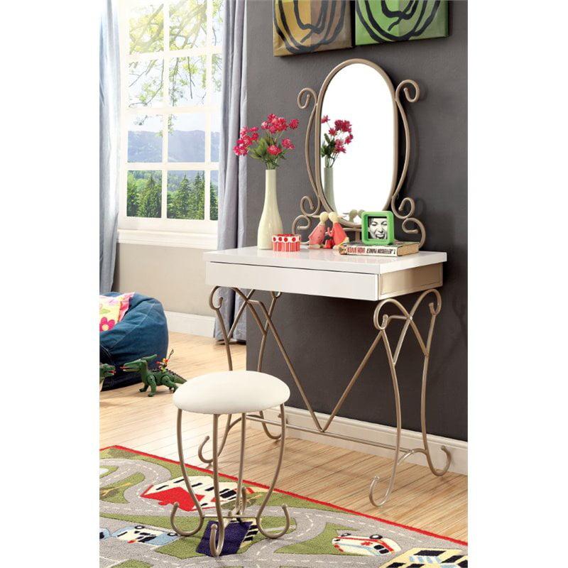 Furniture Of America Heiress 3 Piece Kids Vanity Set In Champagne Walmart Com