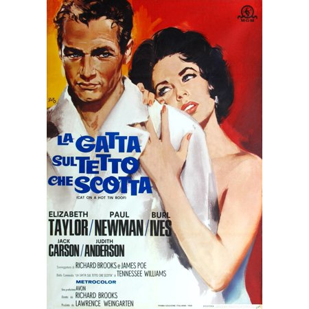 Cat On A Hot Tin Roof From Left Paul Newman Elizabeth Taylor 1958 Movie Poster (Cat On A Hot Tin Roof Character Analysis)