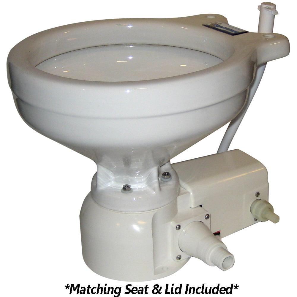 Raritan Engineering 14678497 Raritan Sea Era Marine Size Toilet - Press - Fresh Water - 0° & 90° Discharge - Smart Switch - 12v - White