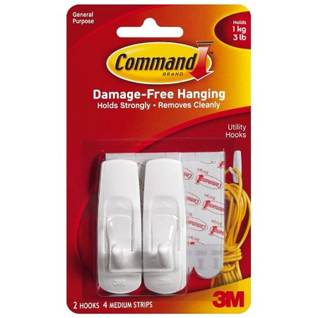 3M Command Hooks, Medium, White, 2/Pkg.