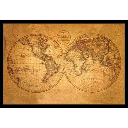 WORLD MAP Old Poster Poster Print 2 Old World Map