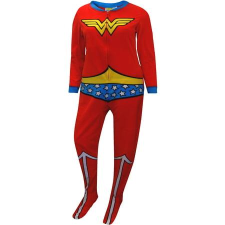 25a62d9dbf BRIEFLY STATED - Wonder Woman Fleece Junior Cut One Piece Footie Pajama -  Walmart.com