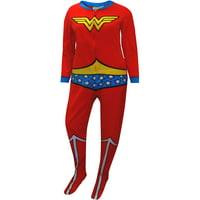 Briefly Stated Women's Wonder Woman Fleece Junior Cut One Piece Footie Pajama