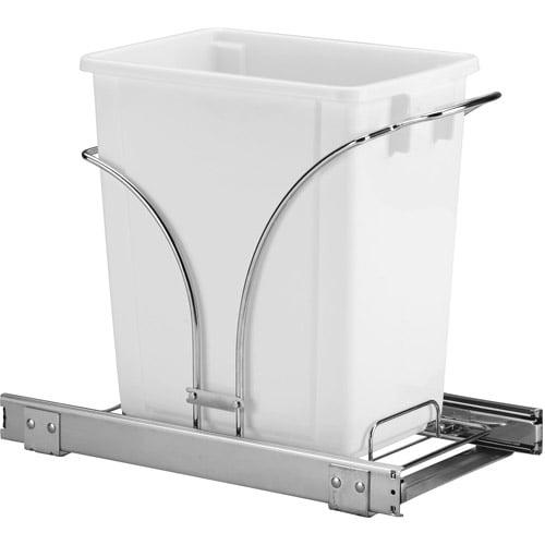 Household Essentials 5-Gallon Sliding Waste Can Storage Caddy, Chrome
