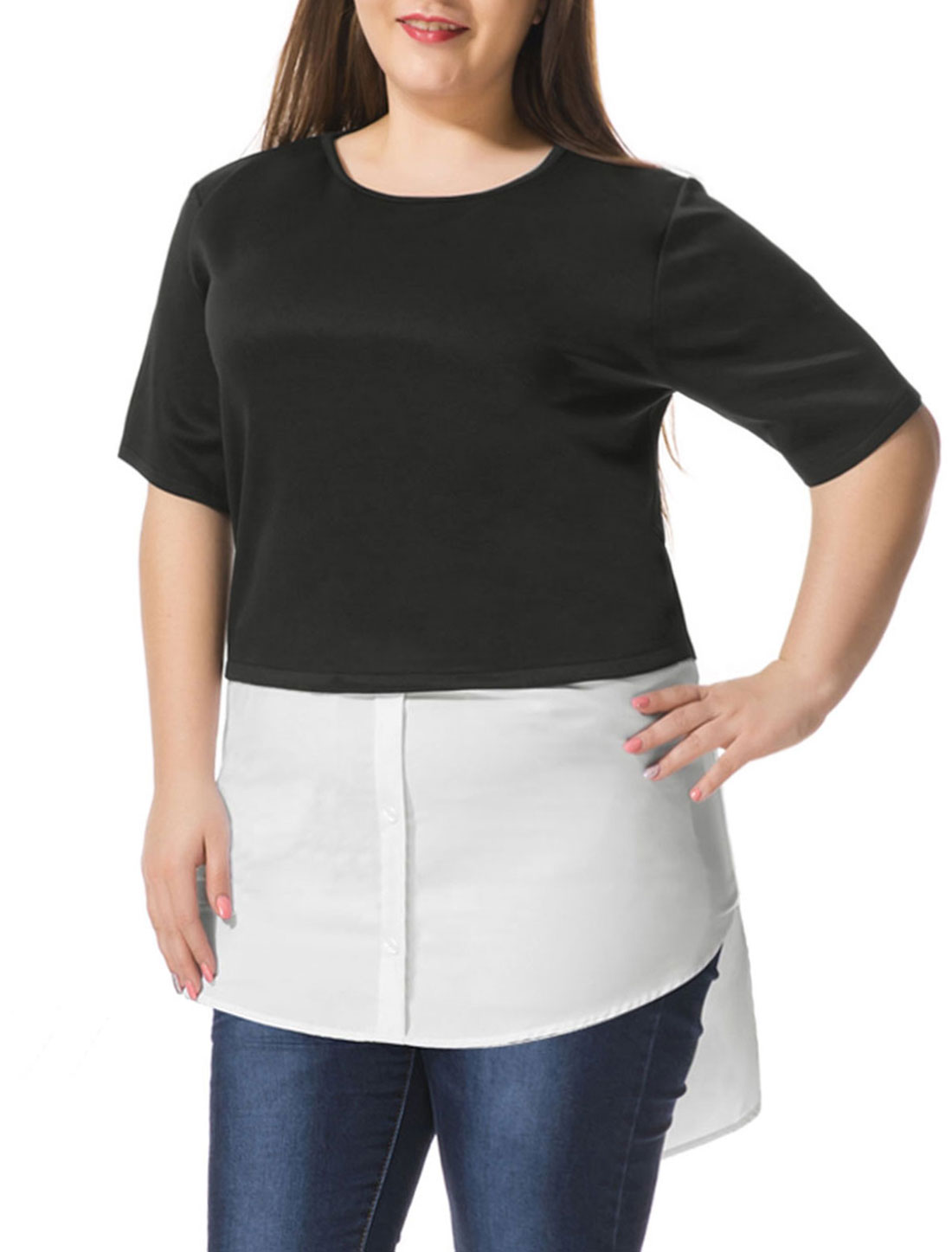 Unique Bargains Women's Plus Size Contrast-Paneled Shirttail Tunic Top