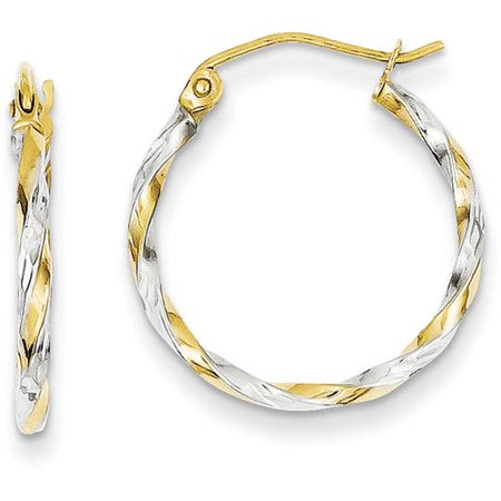 14kt Yellow Gold and Rhodium Hollow Twisted Hoop Earrings