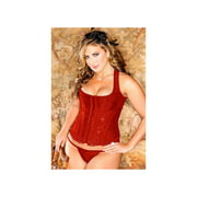 iCollection Red Brocade Racer-Back Diva Corset 7248XIB_R Red