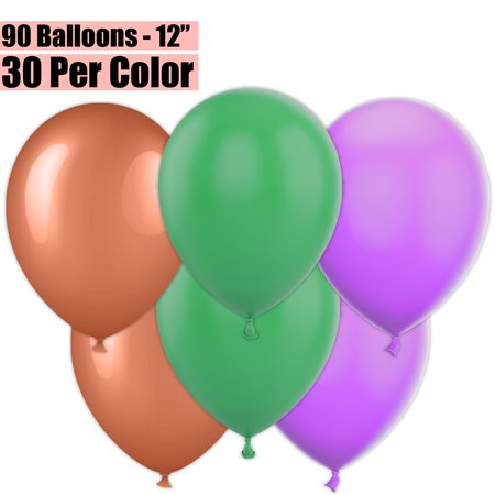 12 Inch Party Balloons, 90 Count - Metallic Copper + Jade Green + Lavender - 30 Per Color. Helium Quality Bulk Latex Balloons In 3 Assorted Colors - For Birthdays, Holidays, Celebrations, and More!!
