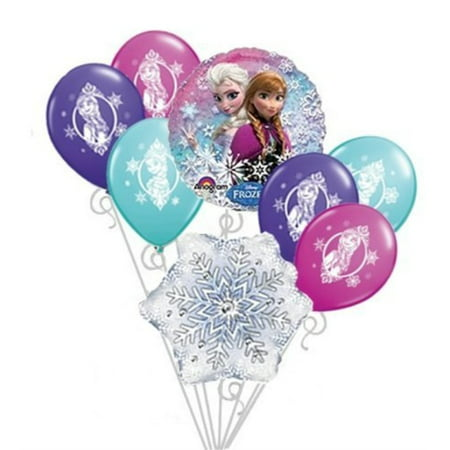 Frozen Balloons Disney Anna & Elsa Happy Birthday Balloon Bouquet Set 8pc by DecorationTime