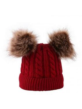 Newborn Cute Caps Autumn Winter Warm Caps Baby Ball Design Hats Knitted Wool Hemming Caps