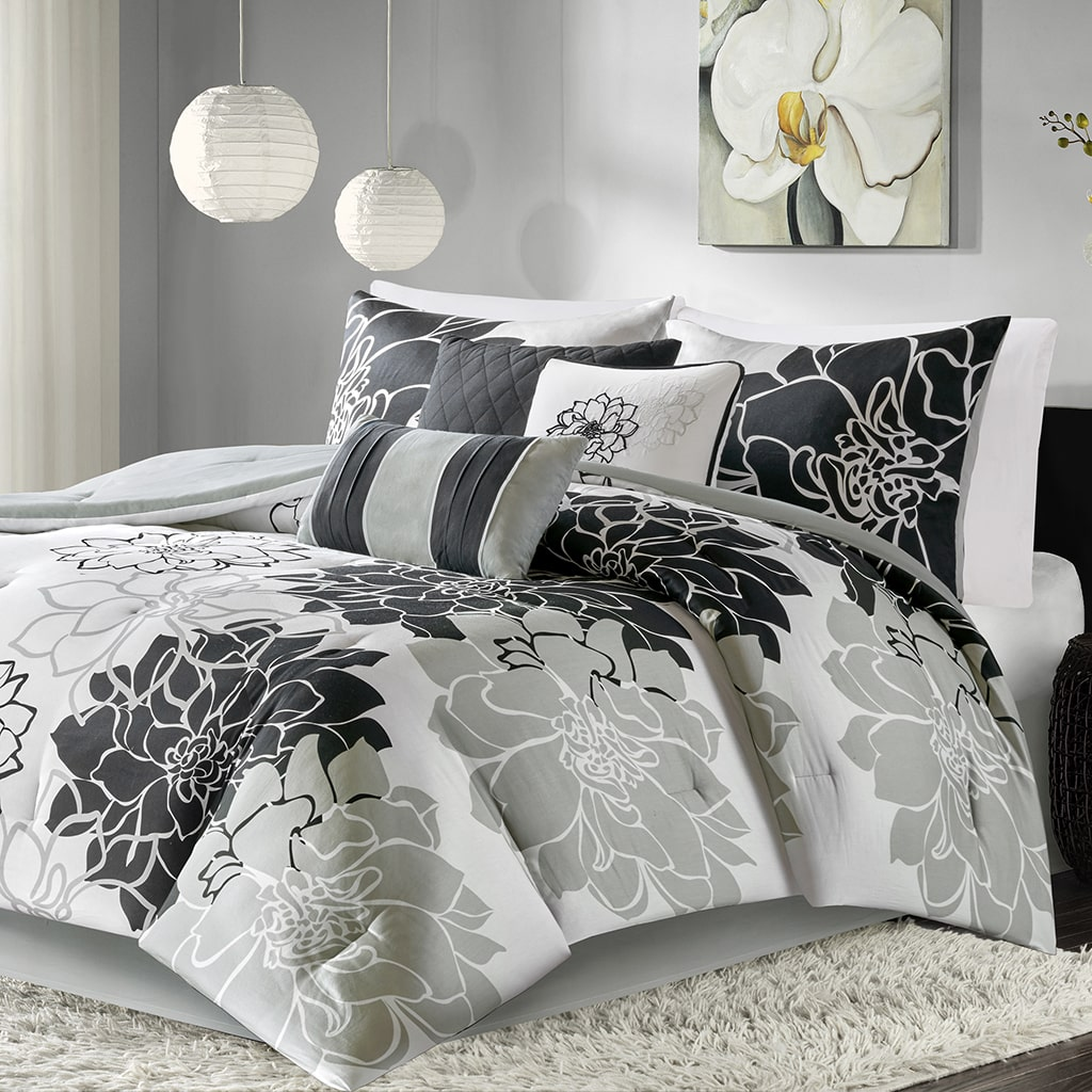 Home Essence Jane 7 Piece Cotton Sateen Print Comforter Set