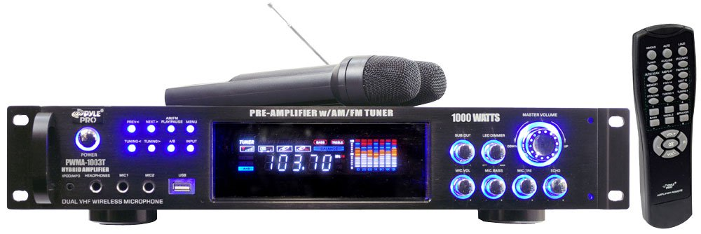 Pyle Pro PWMA1003T 1,000W Hybrid Pre-Amplifier and Wireless Microphone System by Pyle