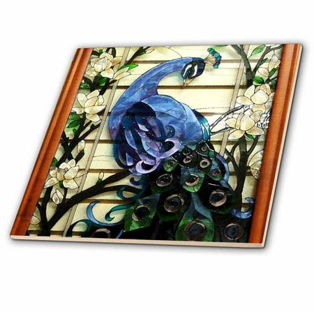 3dRose Peacock Proud Ceramic Tile 4 inch