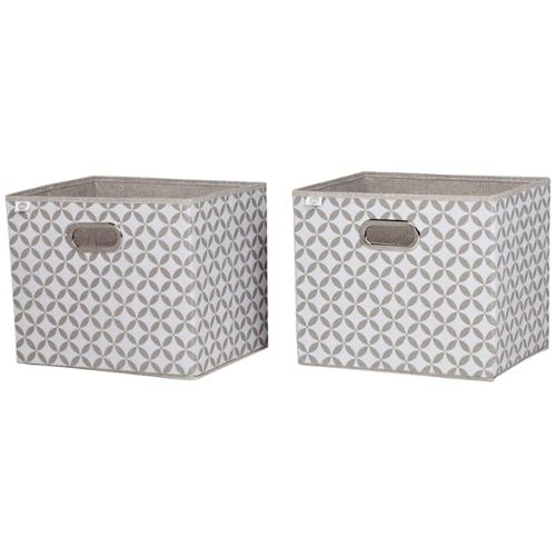 South Shore Stor-it Fabric Storage Baskets with Pattern (Set of 2) Chambray and Patterned