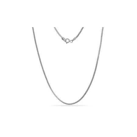 Sterling Silver Mini Popcorn Chain Necklace 30 Inch