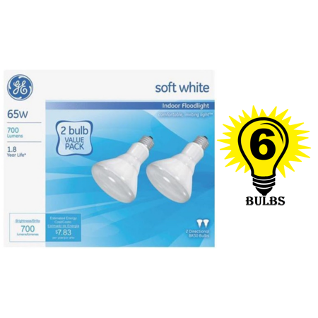 GE Soft White 65 Watt R30 Floodlight, 6 Bulbs