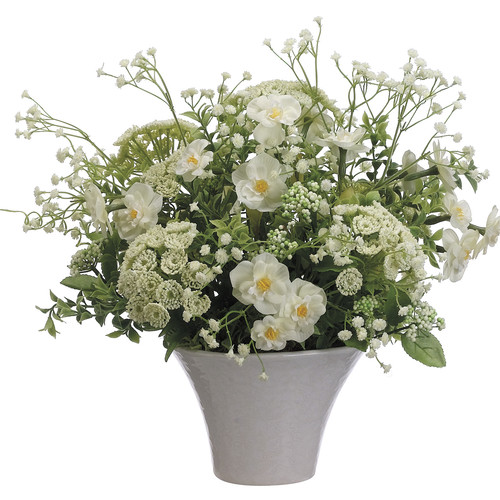 Tori Home Narcissus/Queen Anne's Lace/Gypsophila in Ceramic Pot