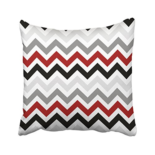 WinHome Decorative Red Black Grey White ZigZag Pillowcase Anniversary Cushion Covers Birthday's Gift Cushion Cover Size 18x18 inches Two Side
