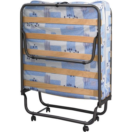 Linon Roma Folding Bed Steel Frame And Mattress Blue And