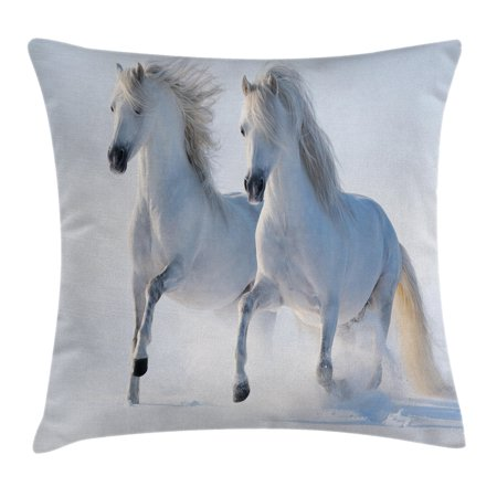 Winter Decorations Throw Pillow Cushion Cover, Galloping Noble Horses on Snow Field Purity Symbol Animals Equestrian Theme, Decorative Square Accent Pillow Case, 18 X 18 Inches, White, by Ambesonne