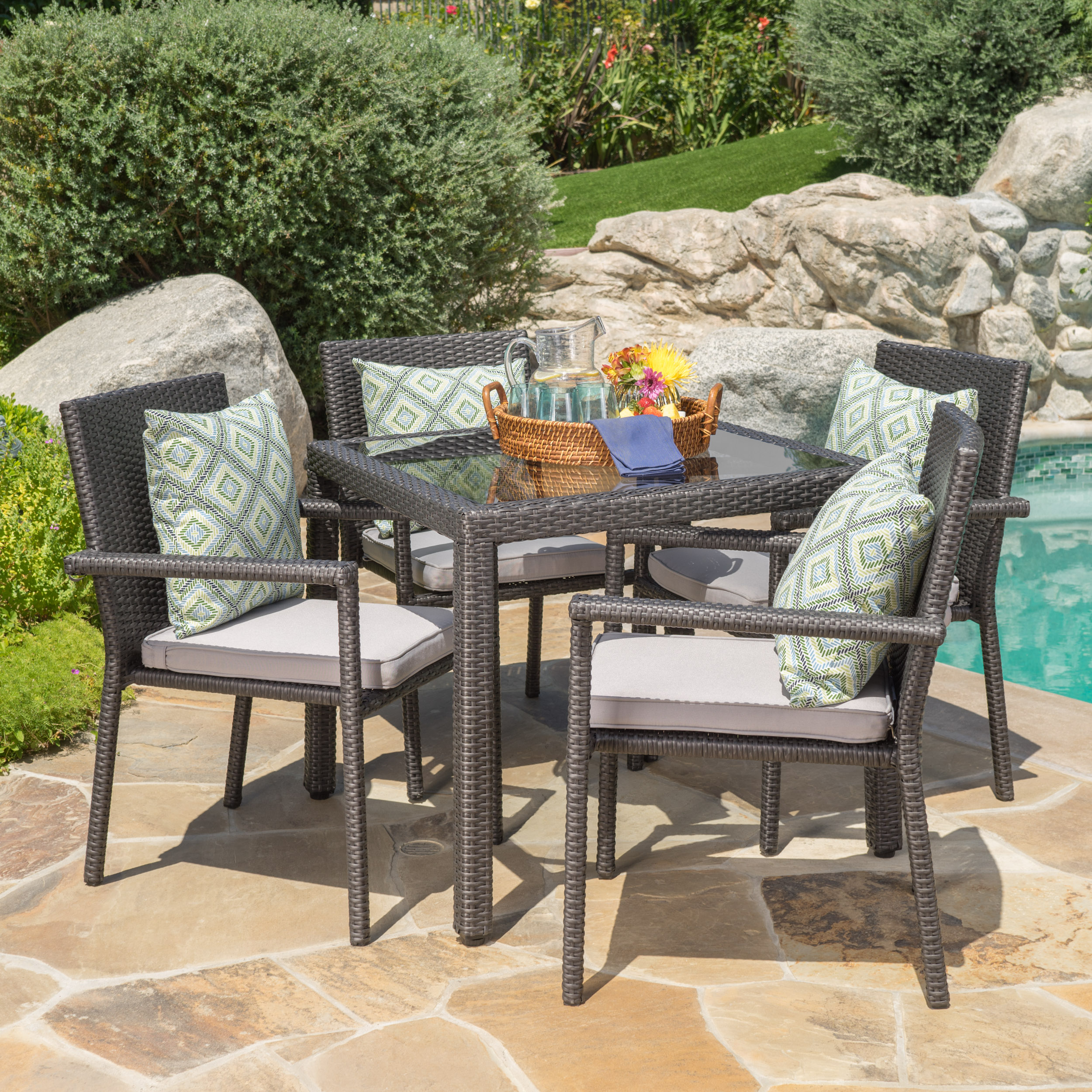 Porto Outdoor 5 Piece Square Wicker Dining Set with Cushions, Grey, Silver