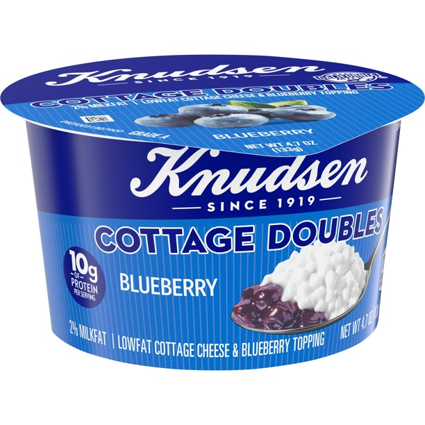 Knudsen Low Fat 2% Milkfat Cottage Cheese Doubles with Blueberry Topping, 4.7 oz Cup