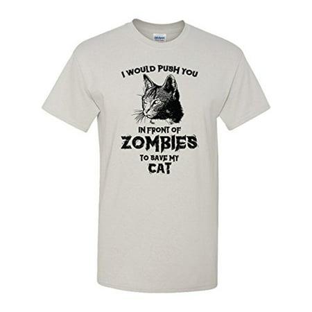 Zombie Cat Funny Kitty Humor Dead Walker Kitten Animal Graphic Pun Tee Adult Men's T-shirt (X-Large)