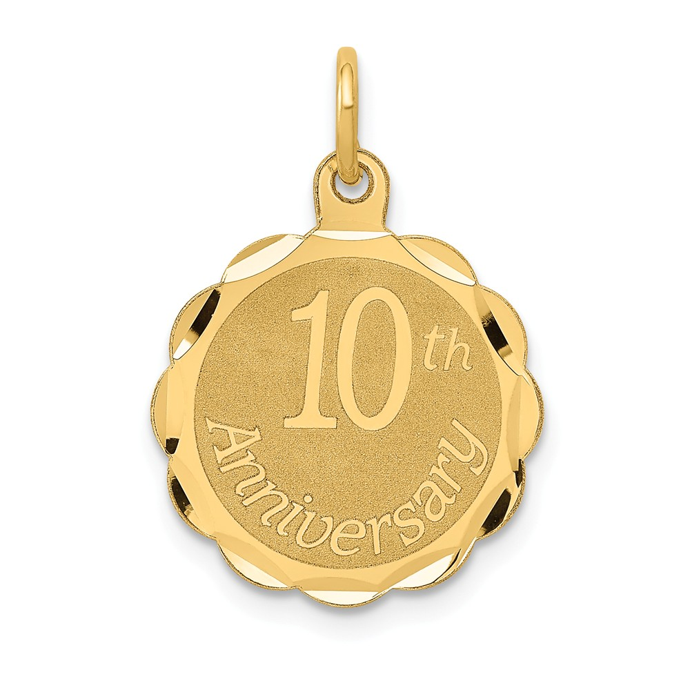 14k Yellow Gold Engravable Happy 10th Anniversary Pendant