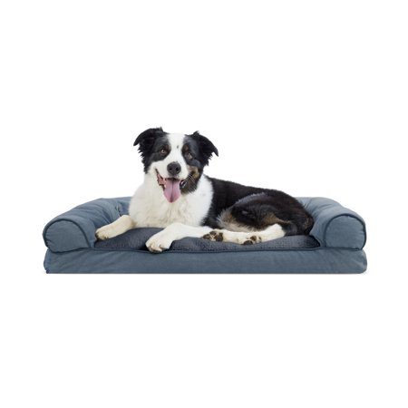Chenille Pet Bed - FurHaven Pet Dog Bed | Faux Fleece & Chenille Soft Woven Pillow Sofa-Style Couch Pet Bed for Dogs & Cats, Orion Blue, Large
