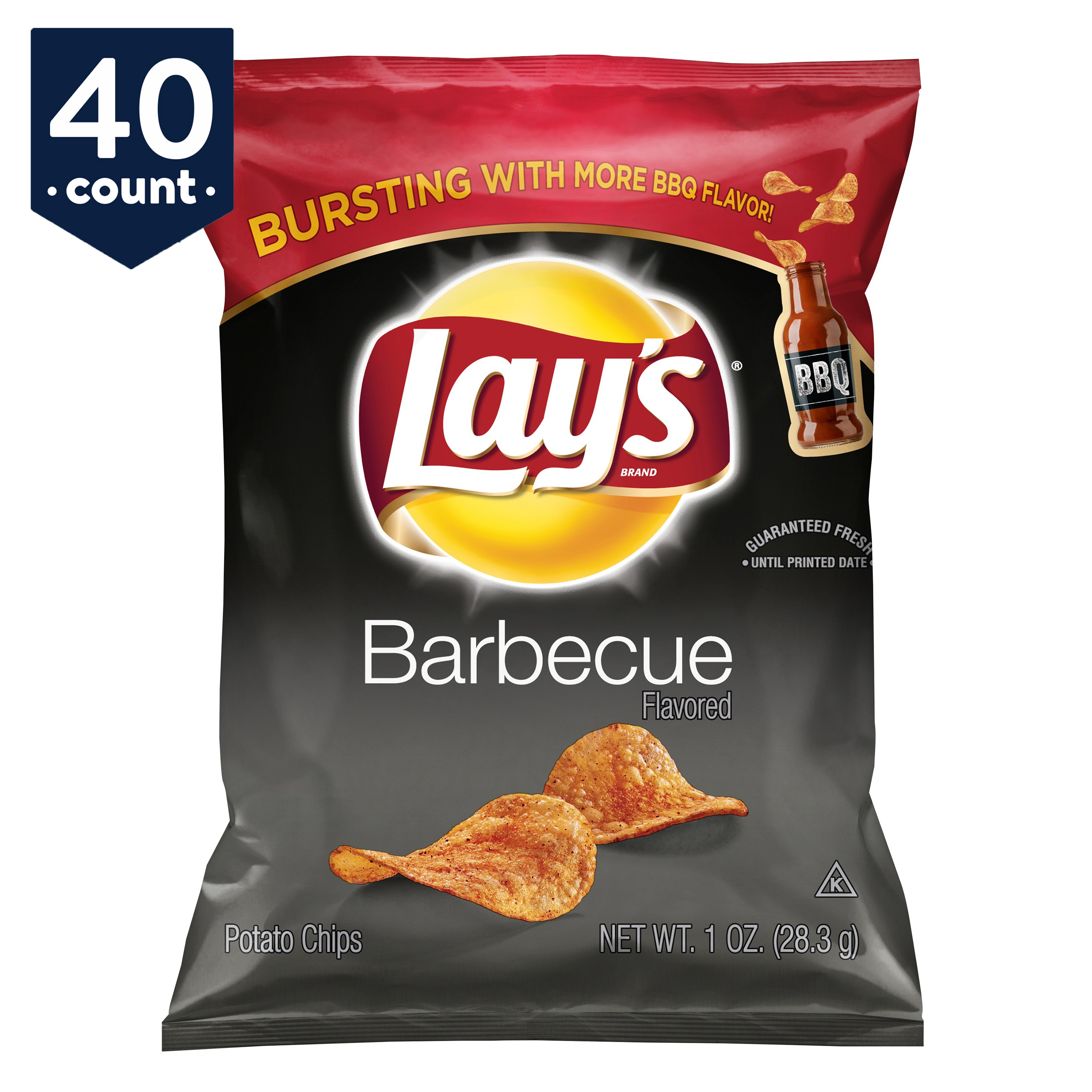 Lay's Potato Chips Snack Pack, Barbecue, 1 oz Bags, 40 Count