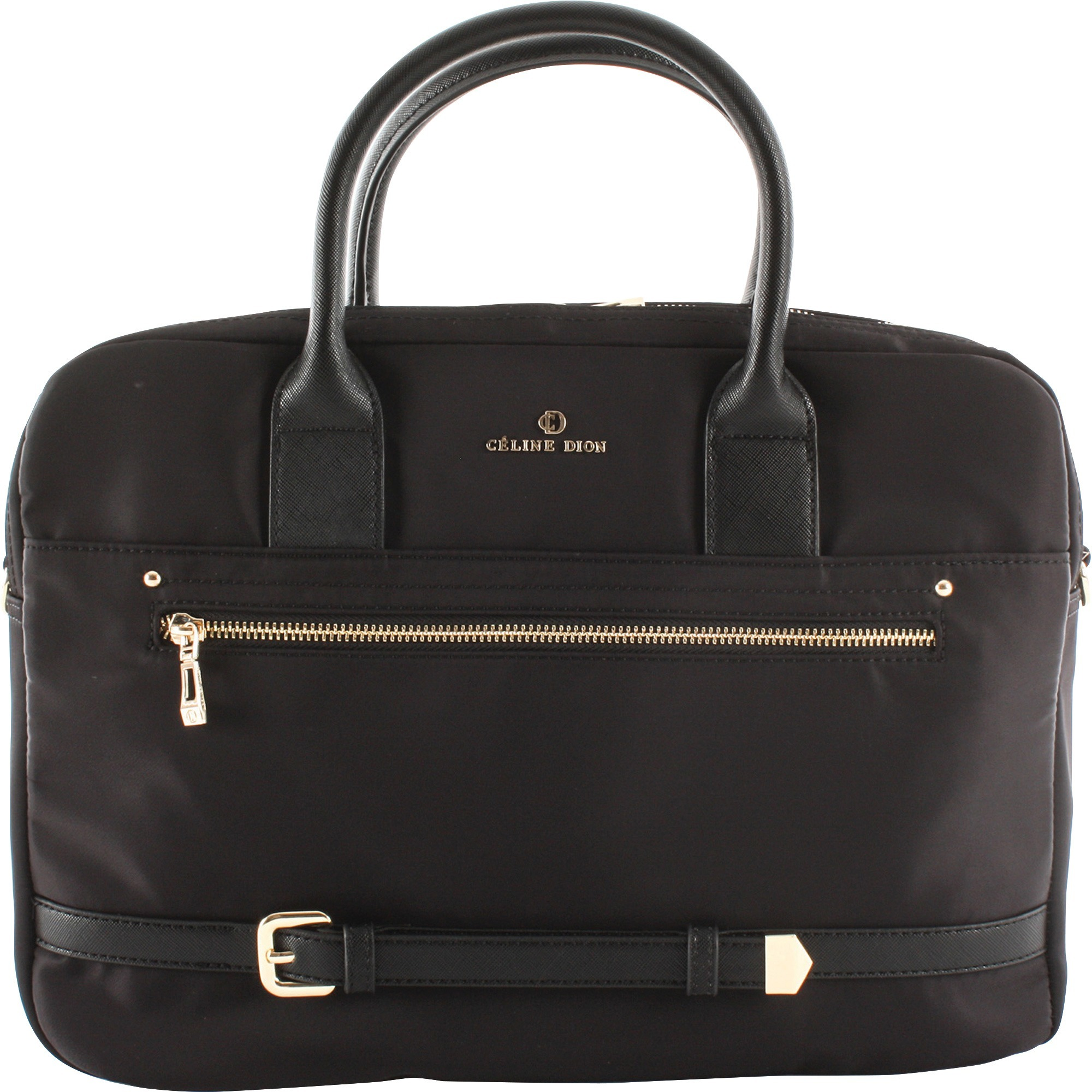 "bugatti Carrying Case (Briefcase) Travel Essential - Black, Gold - Nylon - Shoulder Strap, Belt - 10"" Height x 3"" Width x 14"" Depth"