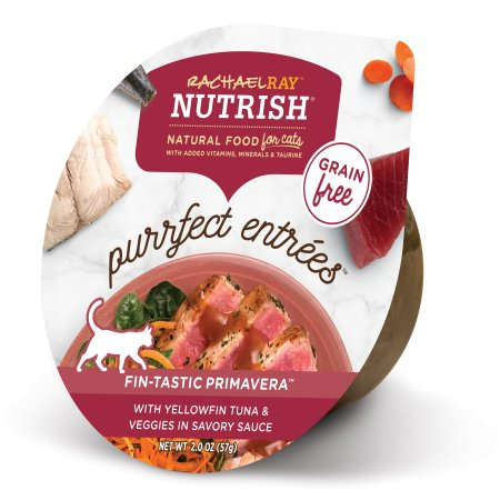 (24 Pack) Rachael Ray Nutrish Purrfect Entrees Grain Free Fin-Tastic Primavera with Yellowfin Tuna & Veggies in Savory Sauce Natural Wet Cat Food, 2 oz