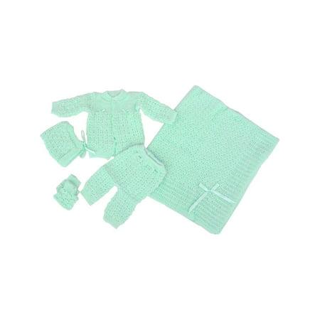 (Baby Boy Girl Green Pants Hat Booties Sweater Blanket Newborn Set)