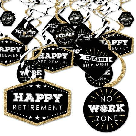 Happy Retirement - Retirement Party Hanging Decor - Party Decoration Swirls - Set of 40 - Retirement Party Decor