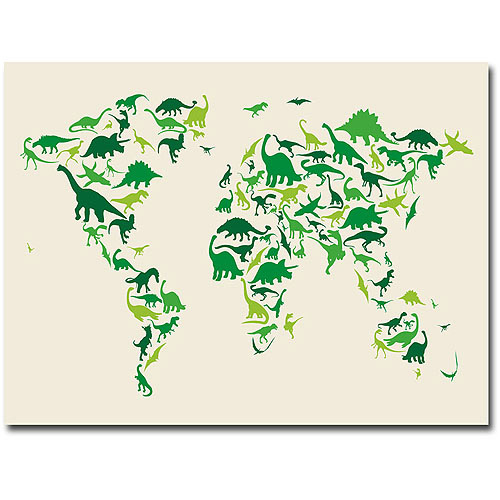 "Dinosaur Wall Art trademark art ""dinosaur world map"" canvas wall artmichael"