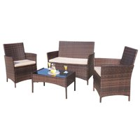 4-Pieces Walnew Outdoor Patio Conversation Furniture Sets with Cushioned Tempered Glass (Beige)