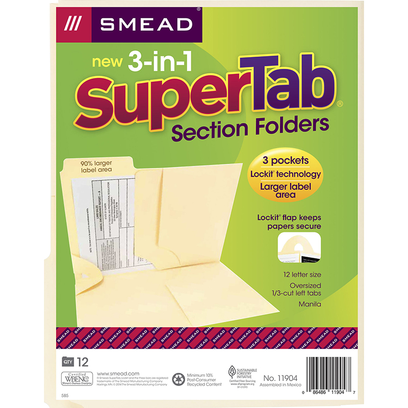 SMEAD 3 N 1 SUPERTAB SECTION MANILA FOLDER
