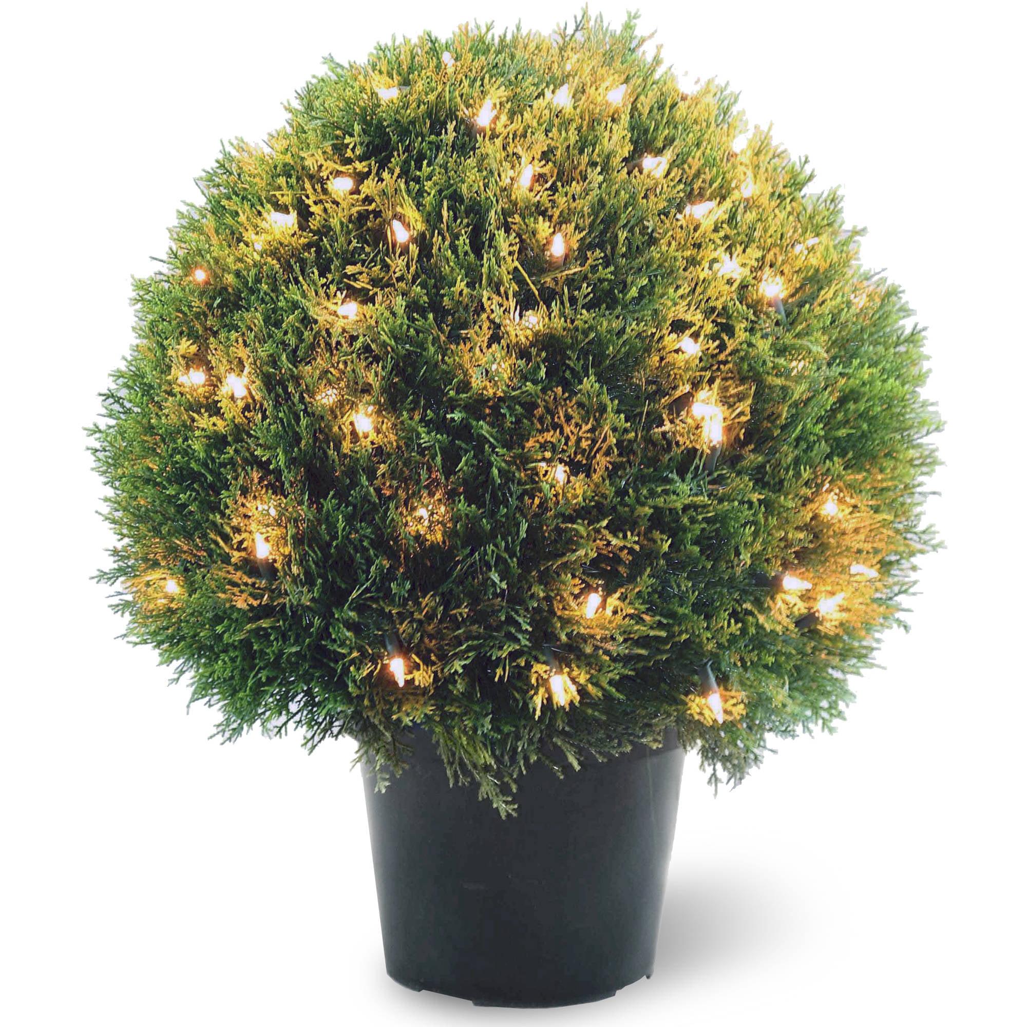 "Pre-Lit 24"" Artificial Cedar Topiary"