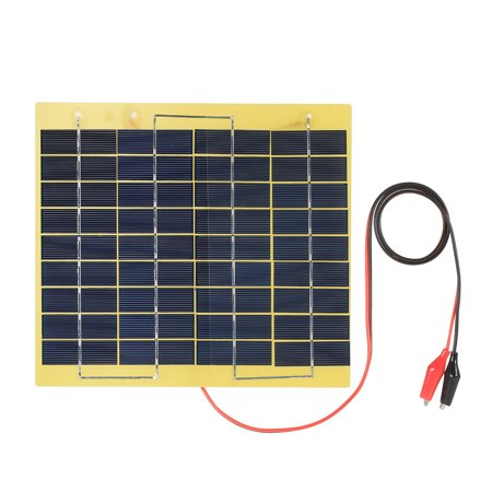 5W 18V Polycrystalline Silicon Solar Panel with Alligator Clips Outdoor Portable Charger for 12V Storage (Outdoor Solar Panels)