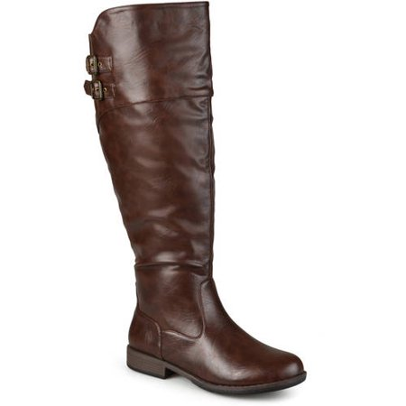 Womens Wide Calf Round Toe Buckle Detail Boots](Wide Width Boots Womens)