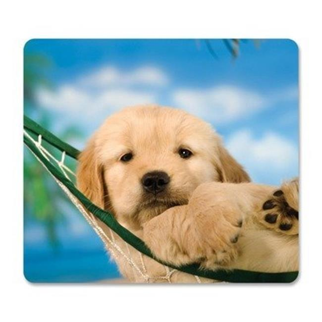 Fellowes 5913901 Recycled Mouse Pad with Nonskid Base - Puppy in Hammock, 7.5 x 9 in.