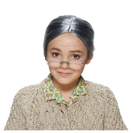 Girls Old Lady Woman Gray Hair Wig Bun Halloween Mrs. Claus 100 Days Costume - Woman's Day Halloween 2017