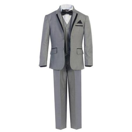 Boys Gray Bow-Tie Vest 5 Pcs Wedding Special Occasion Tuxedo Suit - Boys Grey Suit