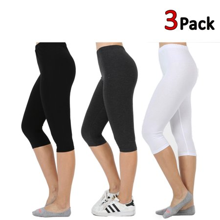 KOGMO Womens Premium Cotton Comfortable Stretch Capri Leggings 15in Inseam 3-Pack
