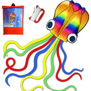 HONBO 14ft R2F Rainbow Soft Octopus Kite for Kids and Audlts---Large Kite with 11.5ft Long Tail and 200ft Flying line---Easy to Fly Toy for Outdoor Games Beach and Activities