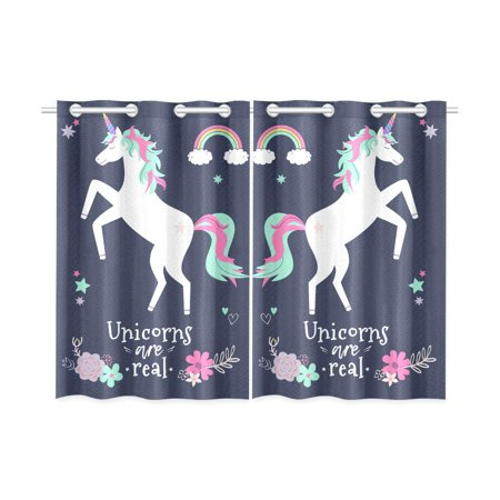 MKHERT Flowers Rainbow with Unicorn Window Curtains Kitchen Curtain Room Bedroom Drapes Curtains 26x39 inch, 2 Piece